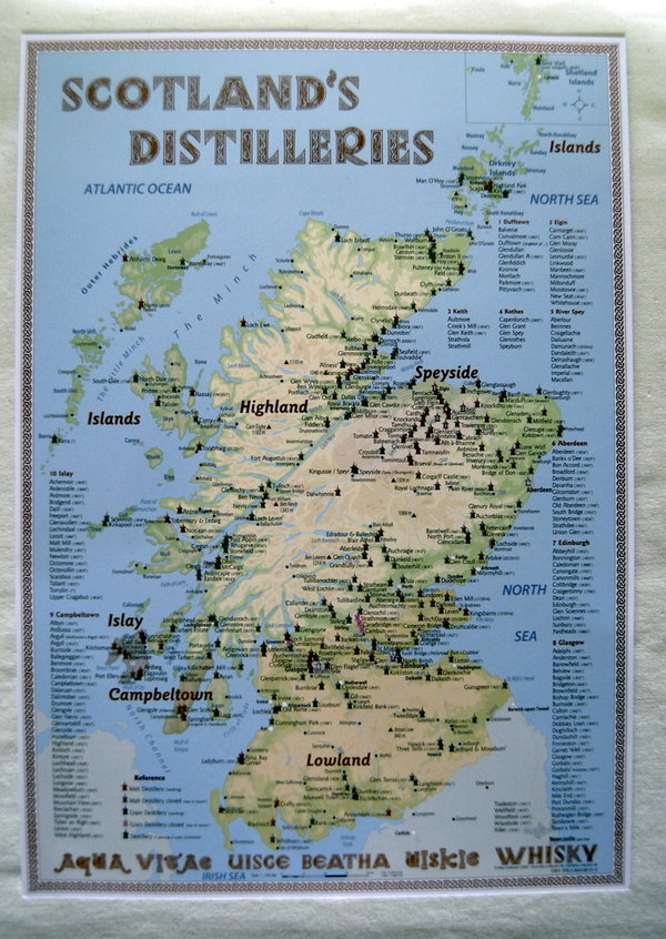 "Tasting-Map "" Destillerien Schottlands"""